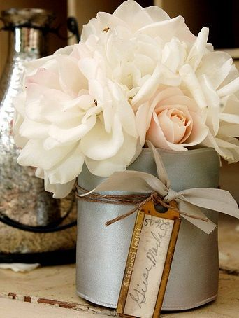 : Beautiful Flower, White Flower, White Rose, Blushes Pink, Pale Pink, Flower Arrangements, Soft Color, Places Cards, Rustic Wedding