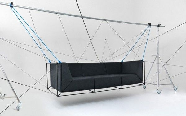 Philippe Nigro designed an interesting furniture piece for a Milano based company called Comforty. Found on Mocoloco, this unusual cushioned  floating sofa was suspended by a steel tube exo-skeleton frame for an intriguing visual effect.