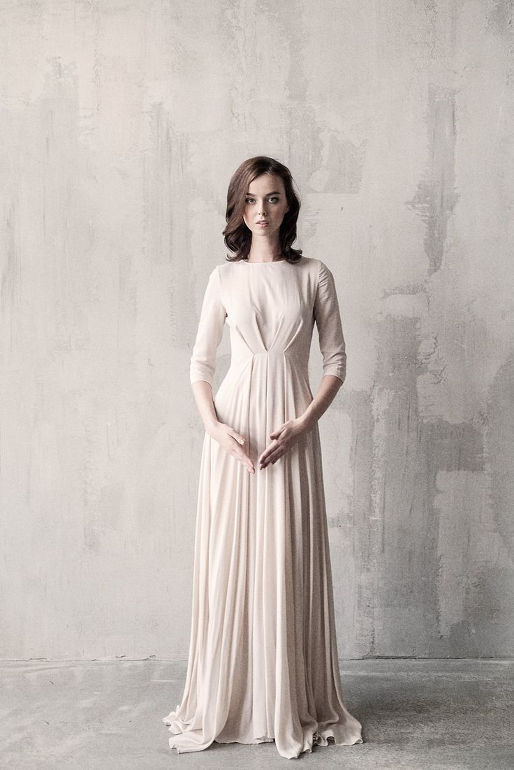 Nude draped wedding dress - Cathy Telle