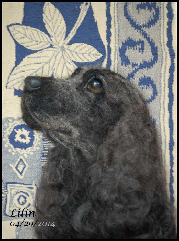 English Cocker Spaniel, custom dog portrait needle felted with dog's fur and wool fiber by FurryMemories.com