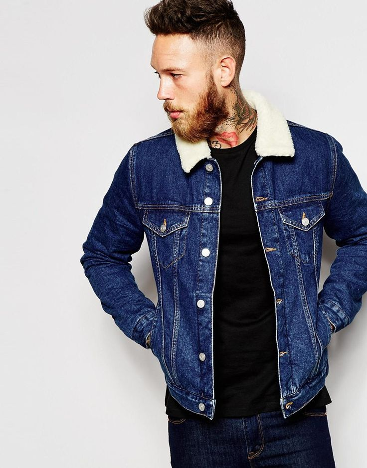 Image 1 of ASOS Denim Jacket With Borg Collar