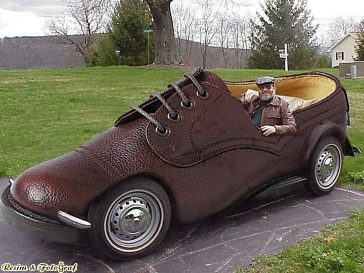 Brown laced up shoe car..hahaha. Some how I think it would be difficult to see while driving. But cute idea none the less.
