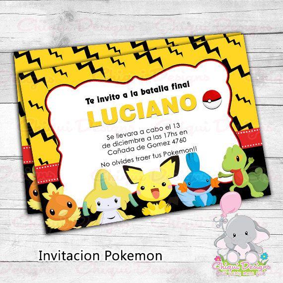 Invitacion Pikachu Pokemon por Chiquidesigns en Etsy ...