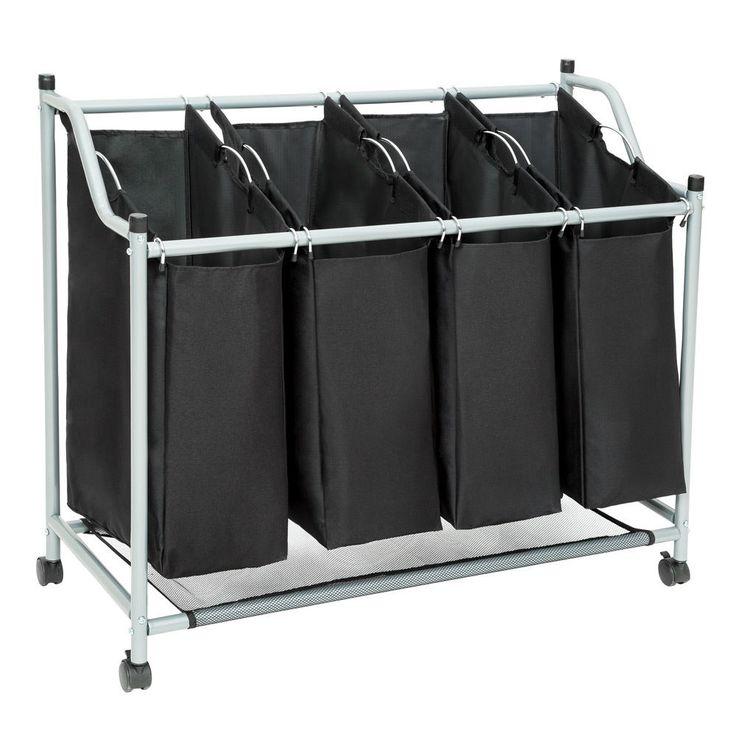 4bag laundry sorter cart hamper rolling organizer clothes bin basket on wheels n