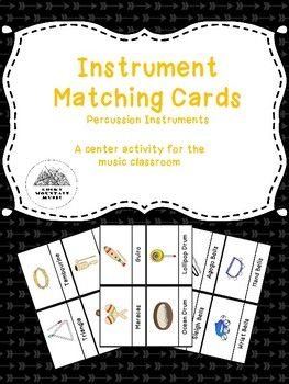 Percussion instrument matching cards perfect for music classroom centers! Students will identify an instrument and pair it with it's name. Can be used for review, assessment, or centers.
