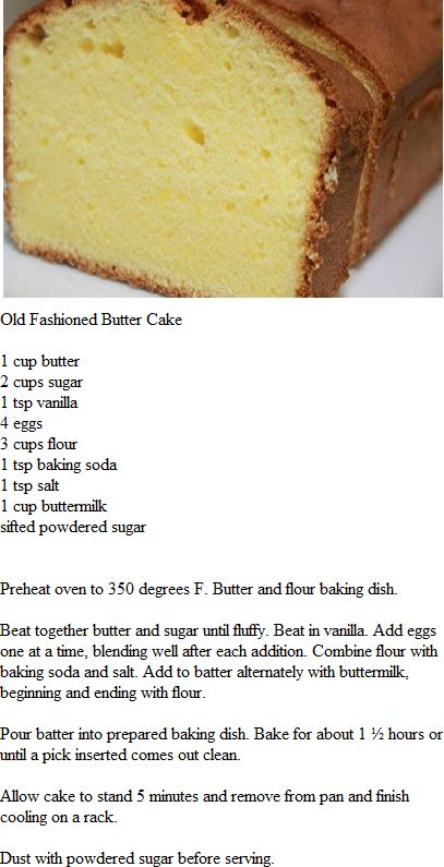 Pound Cake substitute buttermilk w/ 1 cup almond milk + 1 tbsp of lemon juice.