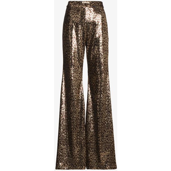 Halpern Sequin Embellished Flared Trousers ($1,875) ❤ liked on Polyvore featuring pants, metallic, flared pants, metallic trousers, sequin pants, sequin flare pants and brown trousers