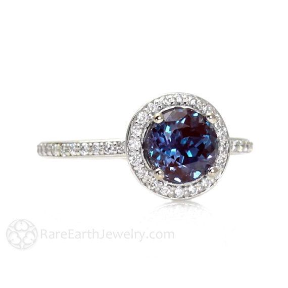Alexandrite Engagement Ring Alexandrite Ring Diamond Halo June Birthstone 14K or 18K Gold Gemstone Ring