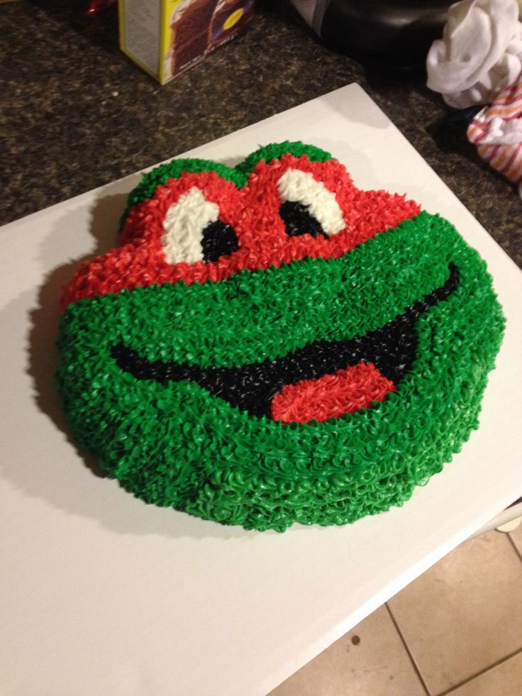 Ninja Turtle cake made using an Elmo pan