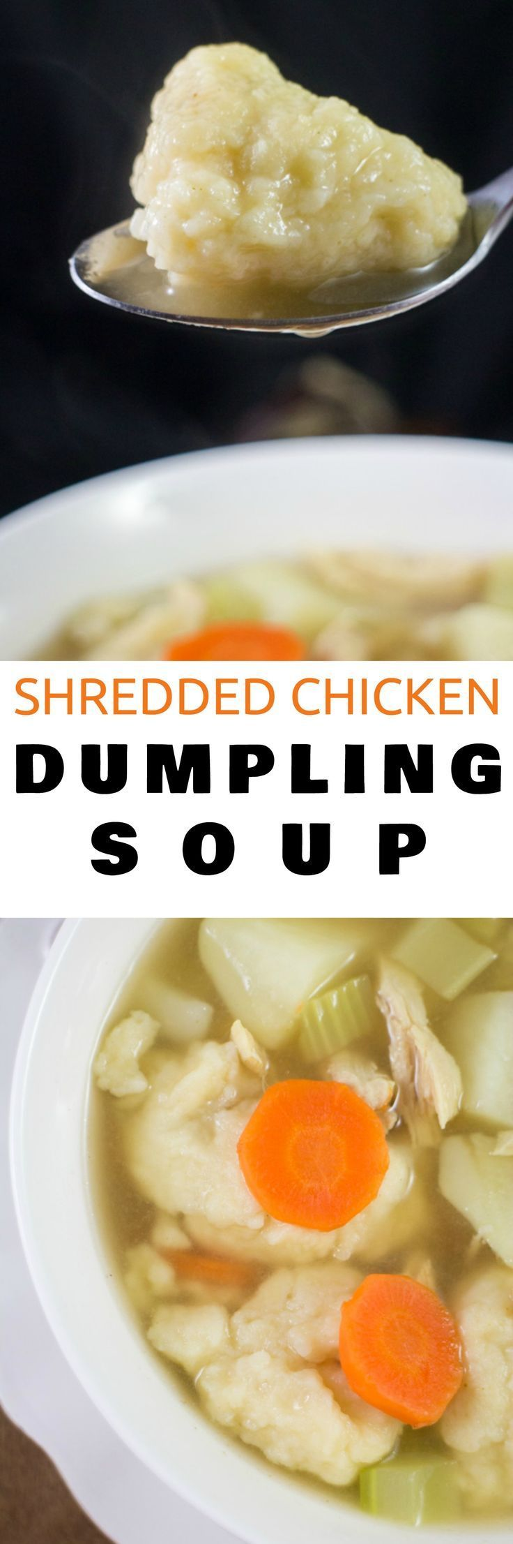 Easy to make recipe for Homemade Shredded Chicken Dumpling Soup with potatoes, carrots and celery. This creamy soup is a healthy comfort dinner food! Best served with biscuits to dip into the chicken broth! Mom, your families are going to love this!