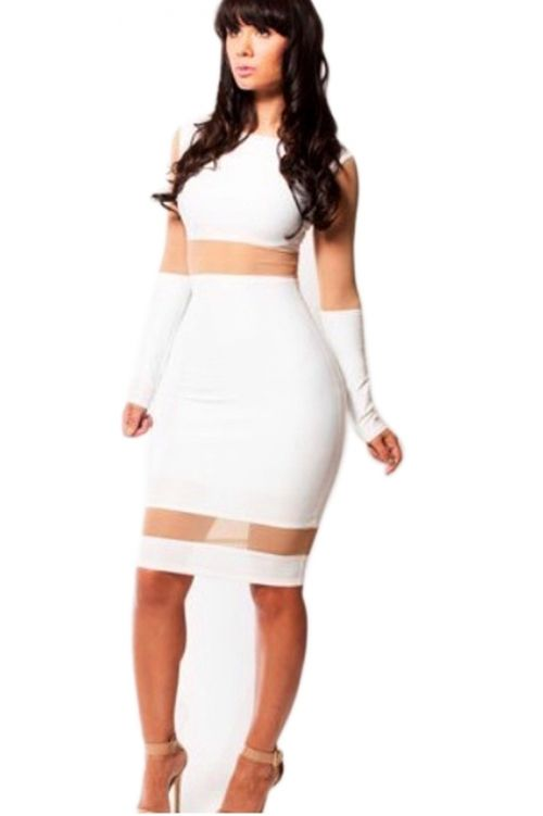Sexy White Elegant Ladies Mesh Bodycon Dress Sexy Bodycon Dresses ...