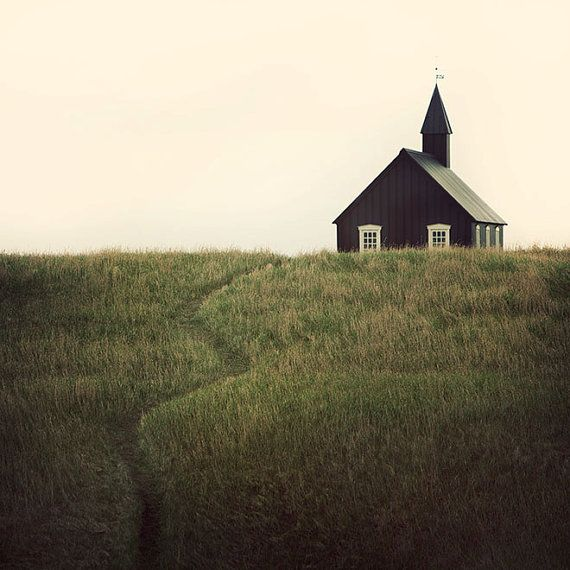 Path to Little Black Church, Iceland, Landscape Photography, Minimal, Rustic, Rural, Nordic, Scandinavian Wedding Chapel - A Simple Path