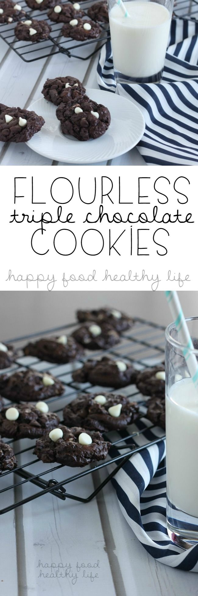 Flourless Triple Chocolate Cookies - I never knew gluten free could taste this rich and delectable!   www.happyfoodhealthylife.com