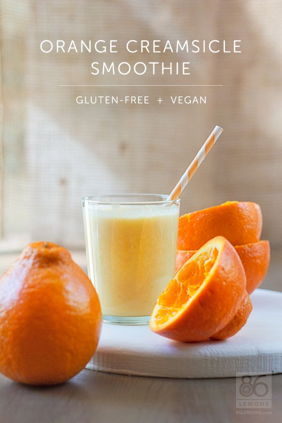 Orange Creamsicle Smoothie #vegan #glutenfree  86lemons.com