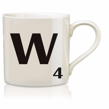Scrabble Mug W: Scrabble mugs – collect the set for when you have 25 friends round for tea.