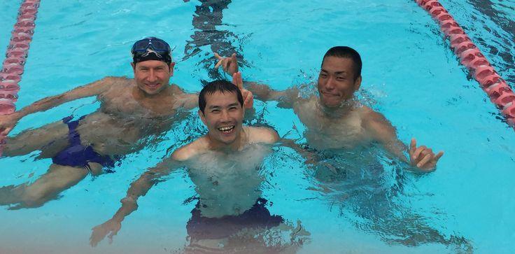 R to L - Stuntteam from Mel Gibson's Hacksaw Ridge Tomoki Miyamoto, Yasushi Asaya meet with Sentient's HOD David Steinhoff at Birrong Pool Sydney.