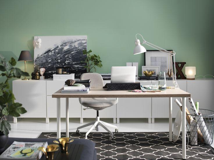 LÅNGFJÄLL bureaustoel   IKEA IKEAnl IKEAnederland stoel werkplek studeerkamer werken studeren bureau werk grijs wit ergonomisch kantoor BESTÅ tv-meubel HOVSLUND vloerkleed interieur inspiratie