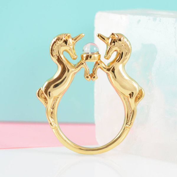 Me & Zena Gold Unicorn Ring ($21) found on Polyvore featuring women's fashion, jewelry, rings, crystal ball ring, gold rings, gold jewellery, yellow gold jewelry and unicorn jewelry