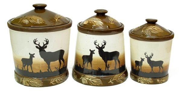 black bear kitchen accessories silhouette deer 3pc ceramic canister set antler kitchen 4649