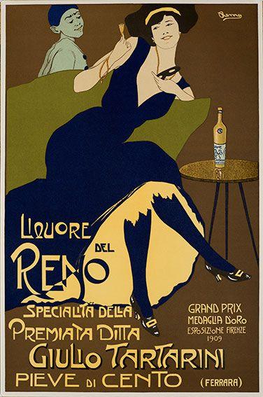 Reno Liqueur vintage advert poster