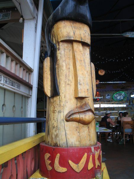 Great Elvis in front of fun restaurant in Hawaii- Lulu's