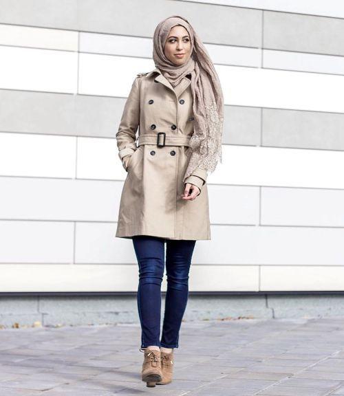 beige-trench-coat-hijab- Military khaki hijab style http://www.justtrendygirls.com/military-khaki-hijab-style/