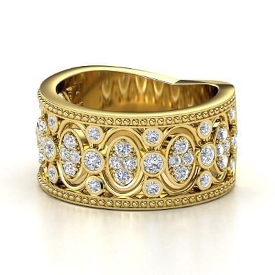 14K Yellow Gold Ring with Diamond - Renaissance Band | Gemvara  CUSTOMIZABLE