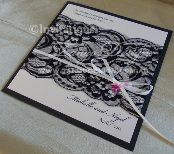 Black lace featured on classy wedding invitations by www.tangodesign.com.au #Vintageweddinginvitations #blacklaceinvitations #blackwhiteinvitations.