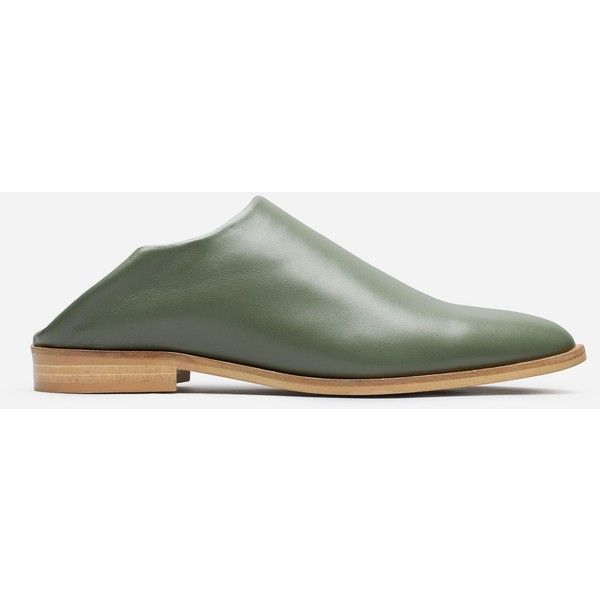 Everlane Women's Mule Shoe ($145) ❤ liked on Polyvore featuring shoes, green shoes, leather shoes, loafer shoes, real leather shoes and leather loafers