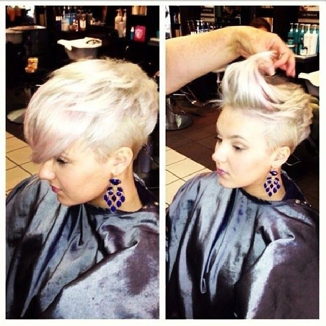 Blonde shaved bang
