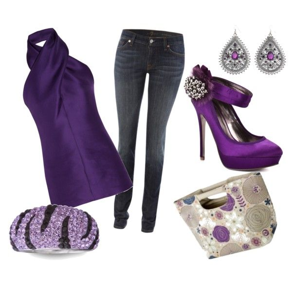 Purple purple purple!: Date Night, Shoes, Purple Outfit, Skinny Jeans, Color, Dresses, Rings, Bags, Purple Tops