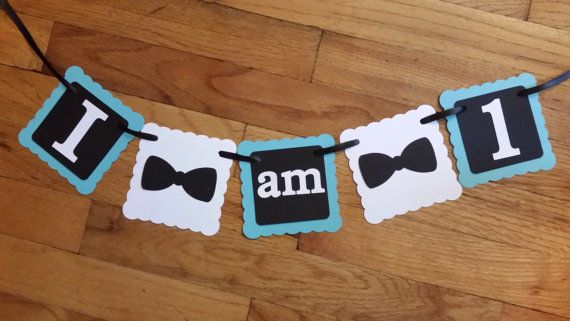 Perfect for birthday pics but need to add the top hat & neck tie too  I am 1 Bow Tie Banner adds the perfect touch to a first birthday party or photo shoot! This works great as a high chair banner or a cake smash