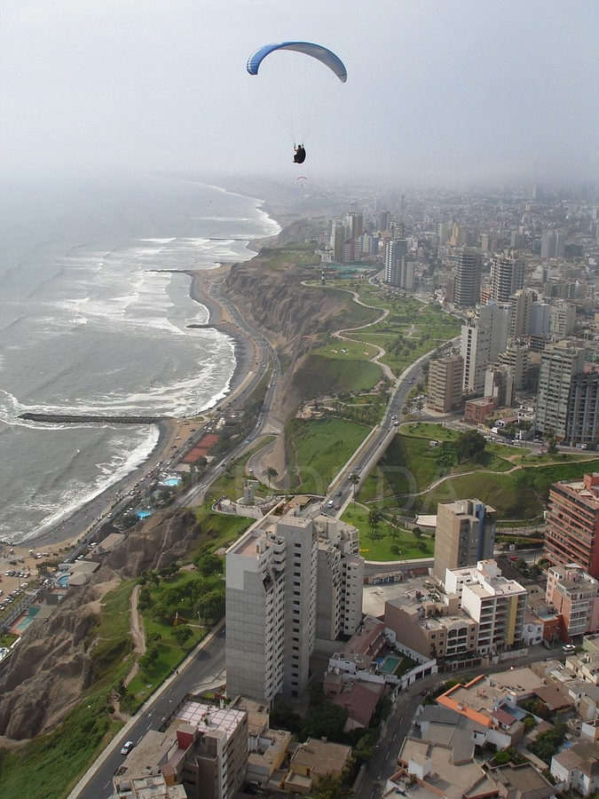 Lima, Peru. we saw them doing this. we stayed in one of those hotels, it was beautiful