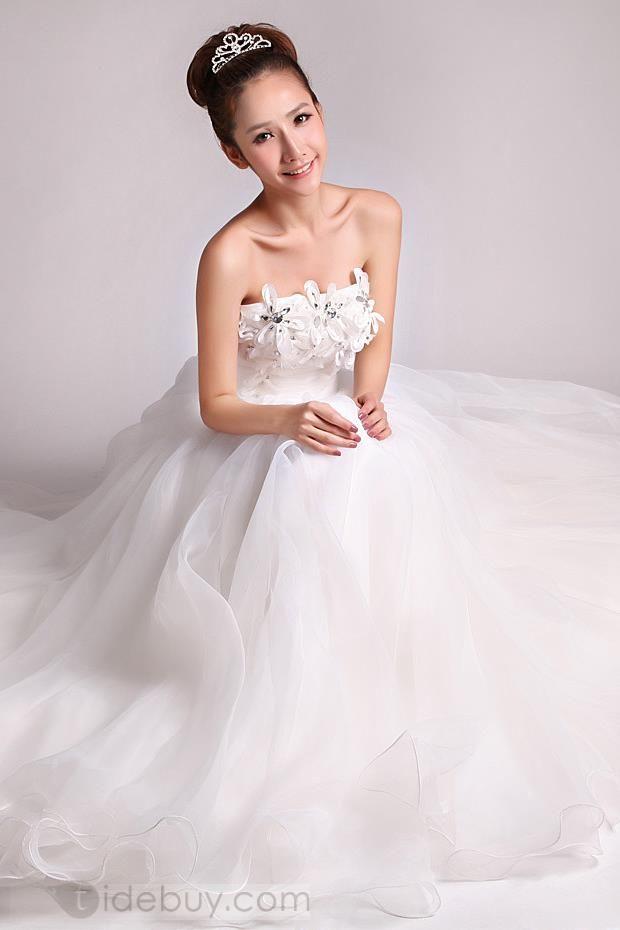 フラワーストラップレス帝国ラインプラスサイズウェディングドレス