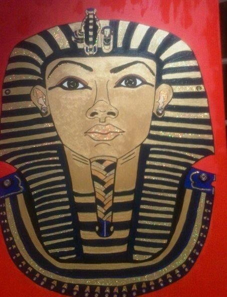 Tutankhamen in acrylic for my daughter's class when Egypt was the learning theme.