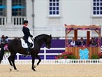 Judges watch Carl Hester of Great Britain ride Uthopia