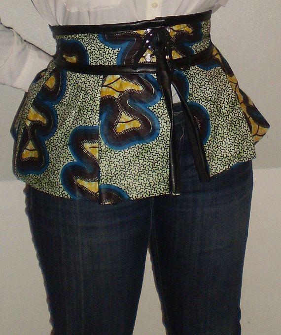 Lace up African Peplum Corset Belt Green, Blue, Yellow, Black