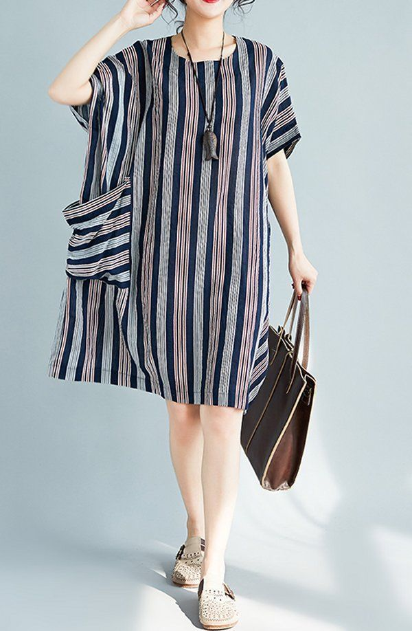 Details about Women loose fit dress pocket stripes tunic large Bohemian Boho summer casual