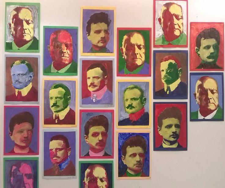 Sibelius maalattu akryyliväreillämustavalkoisen kopion päälle.