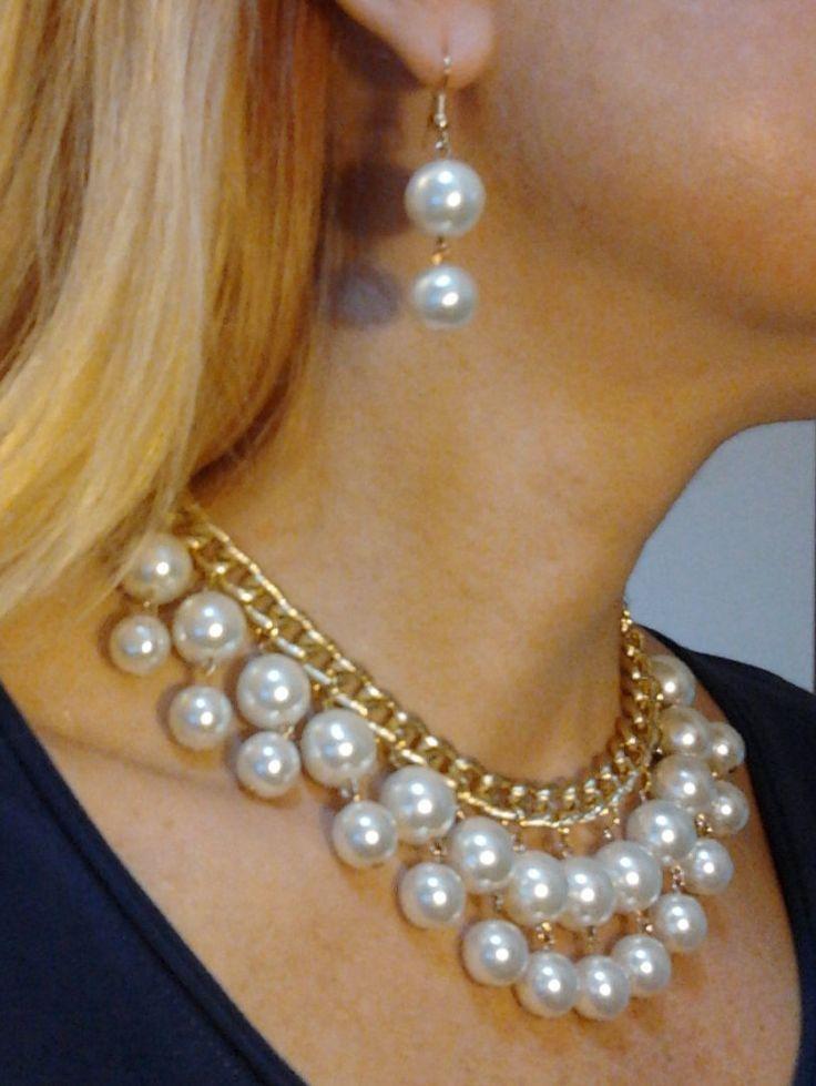 Pearl Necklace and Earring Set/Orecchini-collana perle/Gioielli perle Set/Orecchini perle/Collana perle/Gioielli damigella/Gioielli sposa di Athiss su Etsy