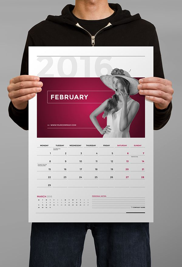 Design Calendar for 2016 – 2017Minimal and Professional Calendar template (2016 and 2017) for creative businesses, created in Adobe InDesign for two paper sizes including US Tabloid and International A3 format.This Calendar features: A3 page size an…