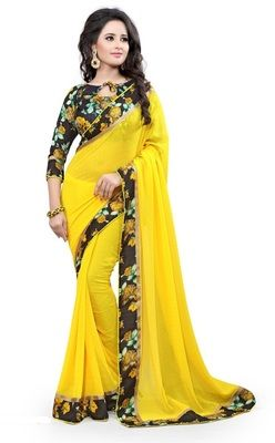 Yellow printed Goergette saree With Blouse