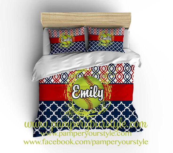 Softball Bedroom - Softball Personalized Bedding - Design my Own Softball Bedding - Navy and Red Softball bedroom decor by PAMPERYOURSTYLE on Etsy