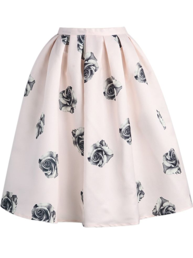 Black Rose Print Flare Skirt In Pink