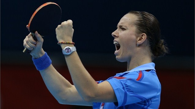 Iveta Vacenovska of Czech Republic celebrates winning her Women's Singles Table Tennis third round match against Jiaduo Wu of Germany on Day 2 of the London 2012 Olympic Games at ExCeL on 29 July.