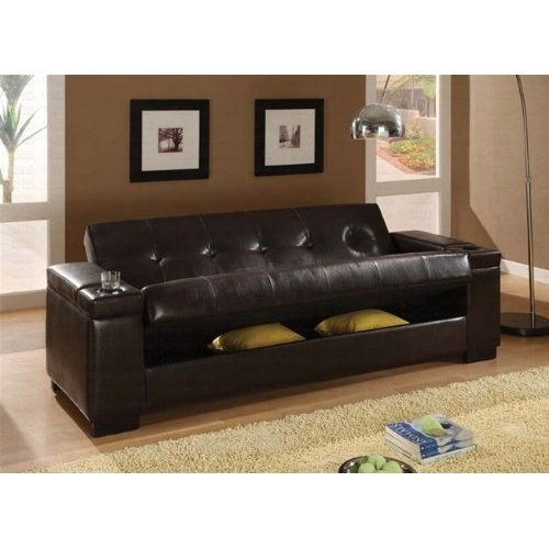 Amazon.com: Faux Leather Convertible Sofa Sleeper With Storage: Furniture U0026  Decor