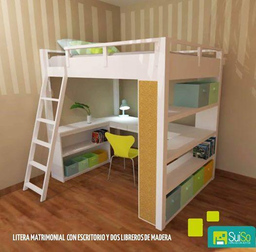 25 melhores ideias sobre camas altas no pinterest - Camas con escritorio debajo ...