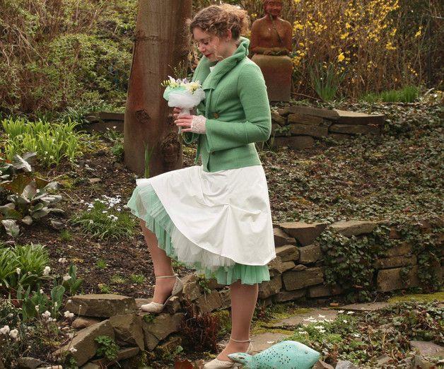 Brautkleider - Jacke aus Wolle Walkjacke Brautjacke minze - ein Designerstück von basia-kollek bei DaWanda