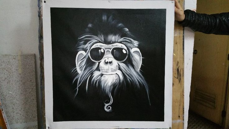 "Canvas Art ""The Black and white Ape"""