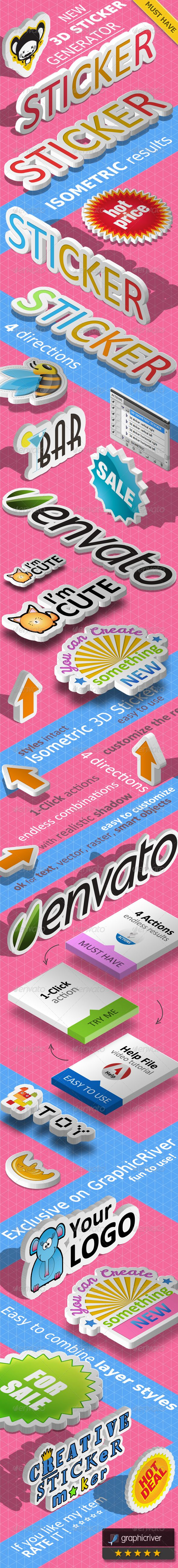 3D Isometric Sticker Photoshop Action  #3d text #isometric drawing #isometric effect • Available here → http://graphicriver.net/item/3d-isometric-sticker-photoshop-action/5092192?s_rank=86&ref=pxcr